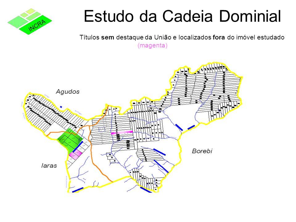 Estudo da Cadeia Dominial Títulos sem destaque da União e localizados fora do imóvel estudado (magenta)