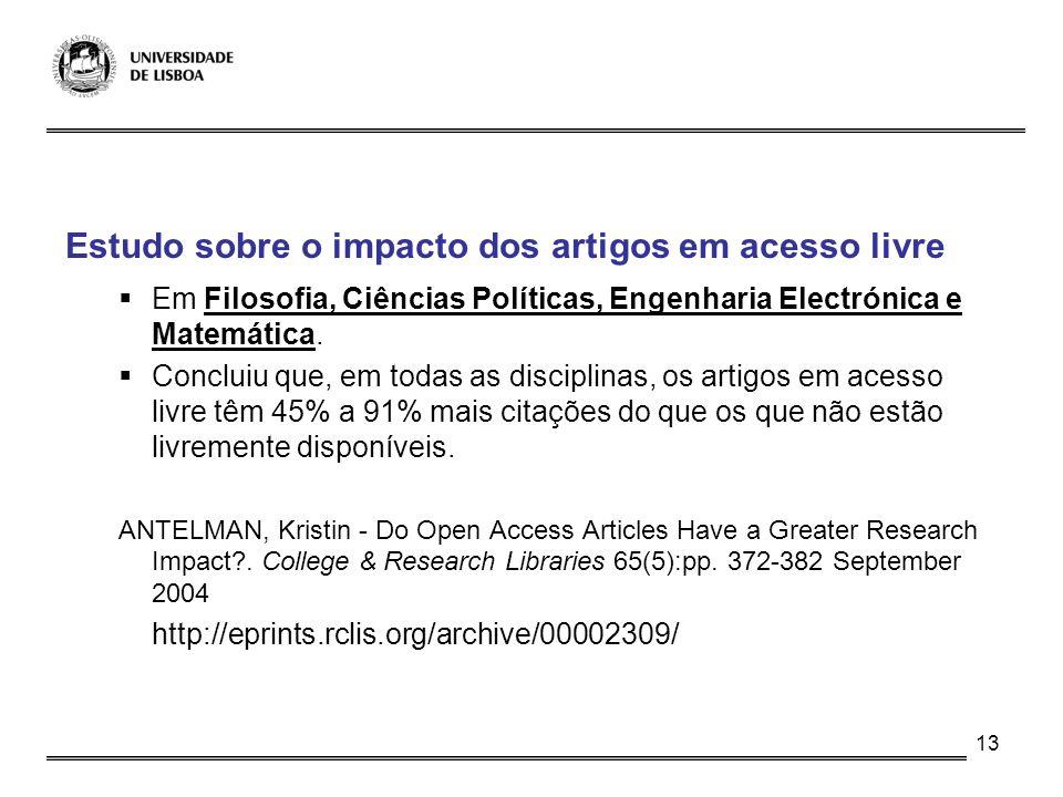 Estudo sobre o impacto dos artigos em acesso livre