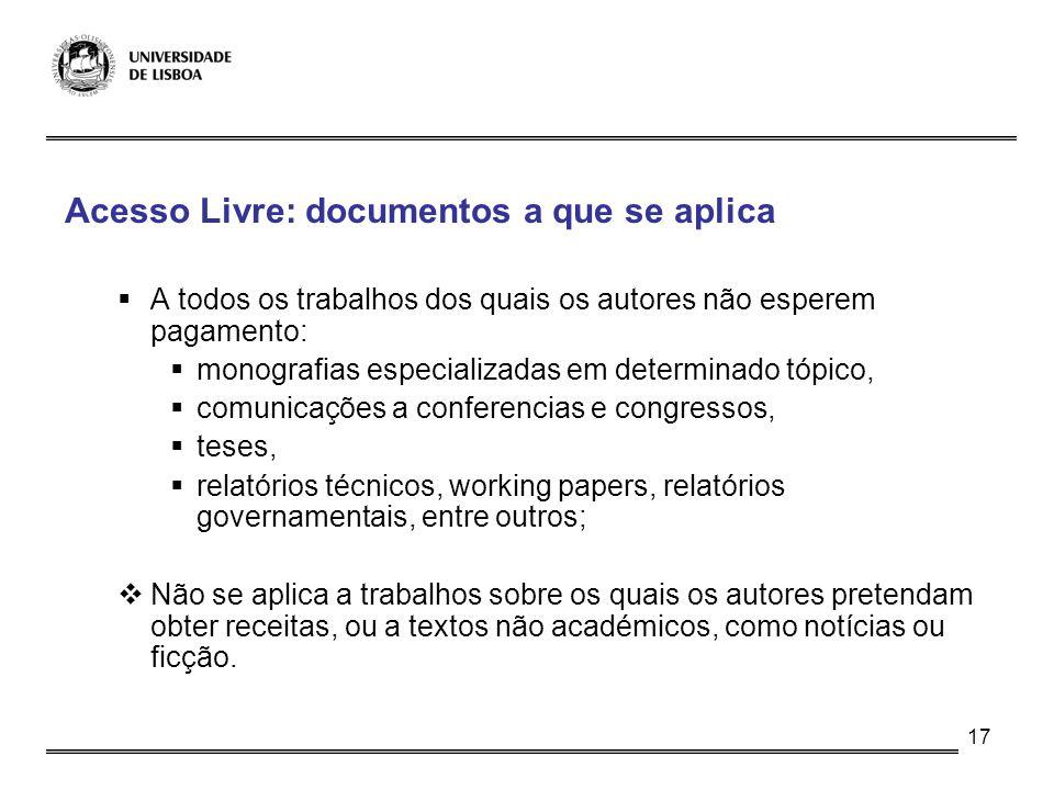 Acesso Livre: documentos a que se aplica
