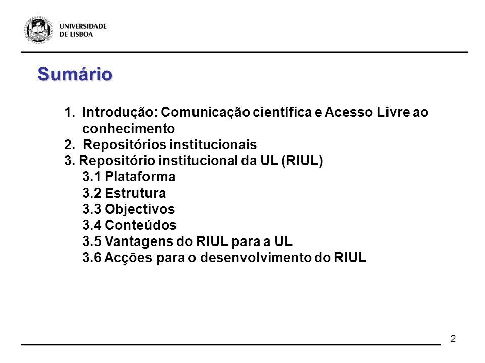 Sumário Introdução: Comunicação científica e Acesso Livre ao conhecimento. 2. Repositórios institucionais.