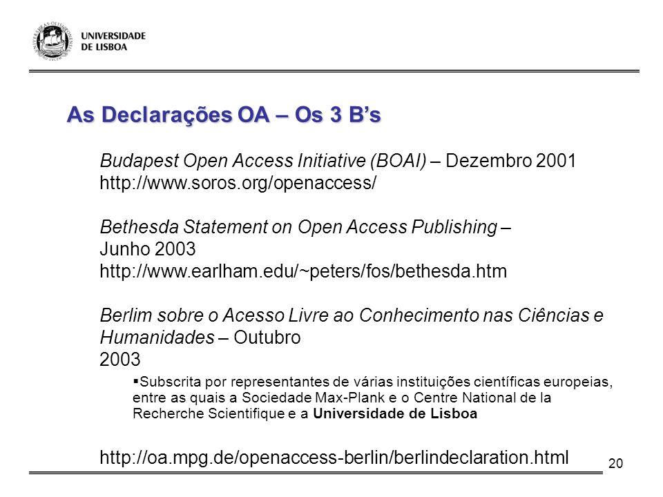 As Declarações OA – Os 3 B's