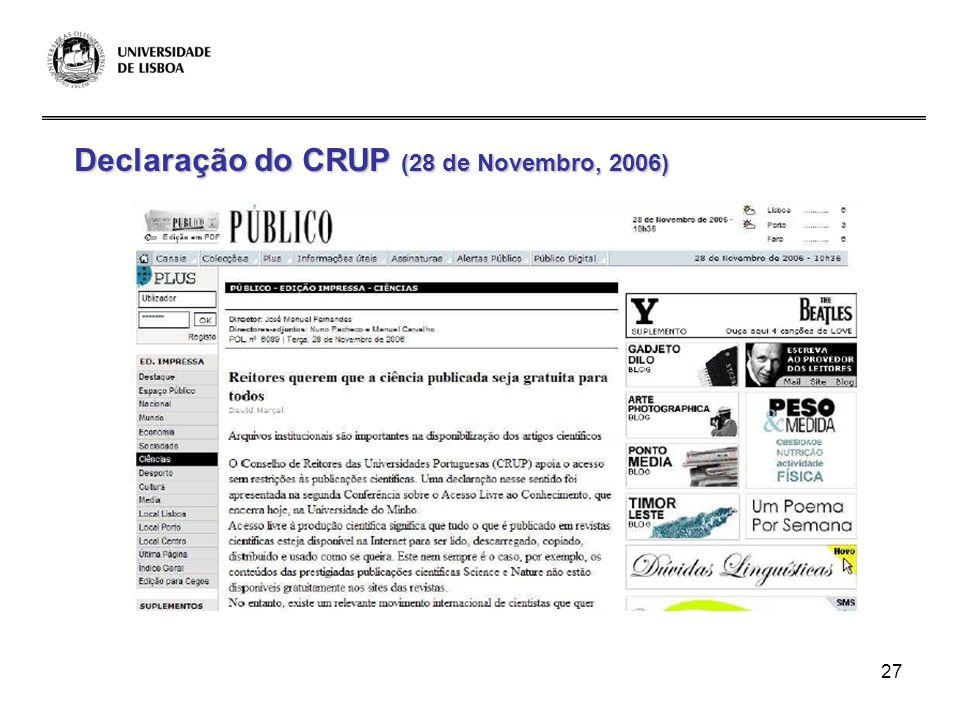 Declaração do CRUP (28 de Novembro, 2006)