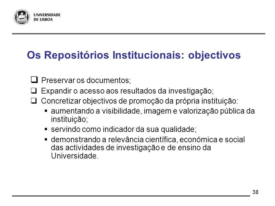Os Repositórios Institucionais: objectivos