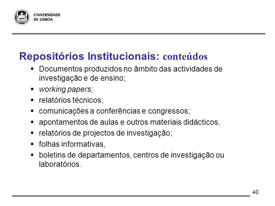 Repositórios Institucionais: conteúdos
