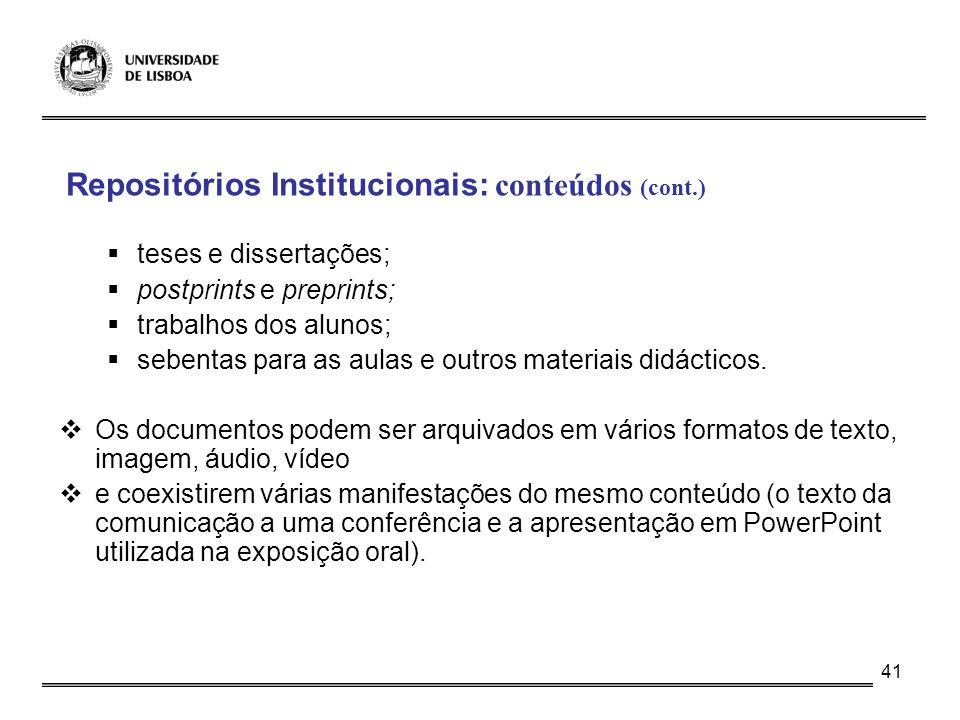Repositórios Institucionais: conteúdos (cont.)