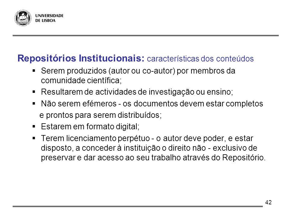 Repositórios Institucionais: características dos conteúdos