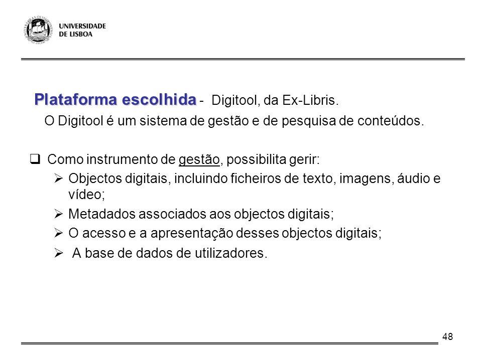 Plataforma escolhida - Digitool, da Ex-Libris.
