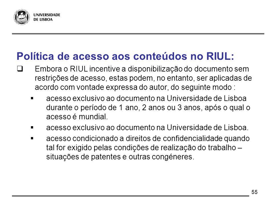 Política de acesso aos conteúdos no RIUL: