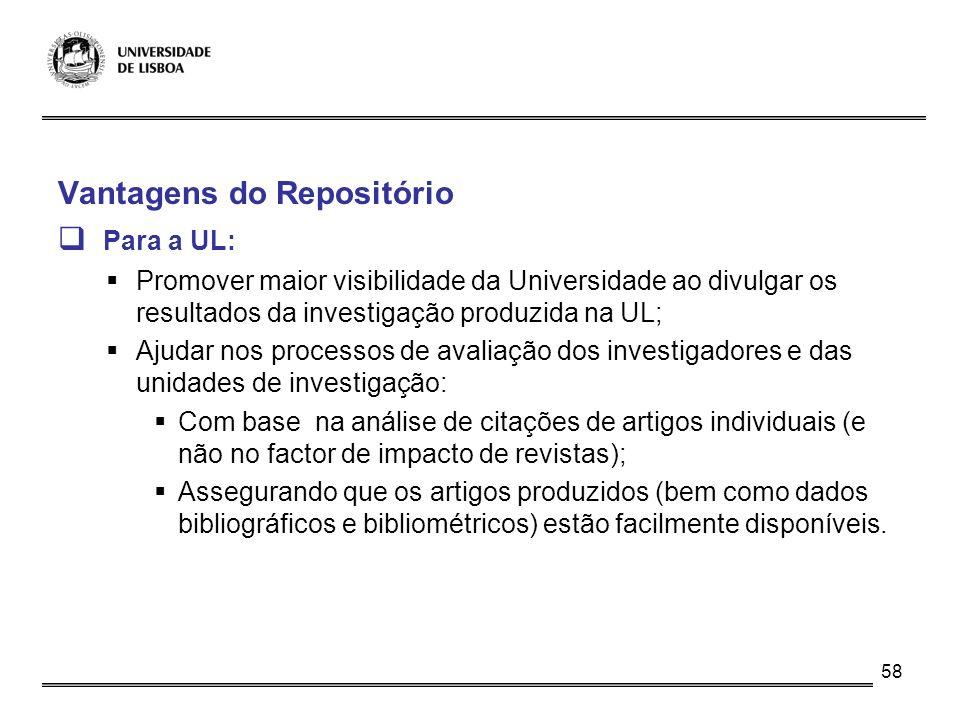 Vantagens do Repositório Para a UL: