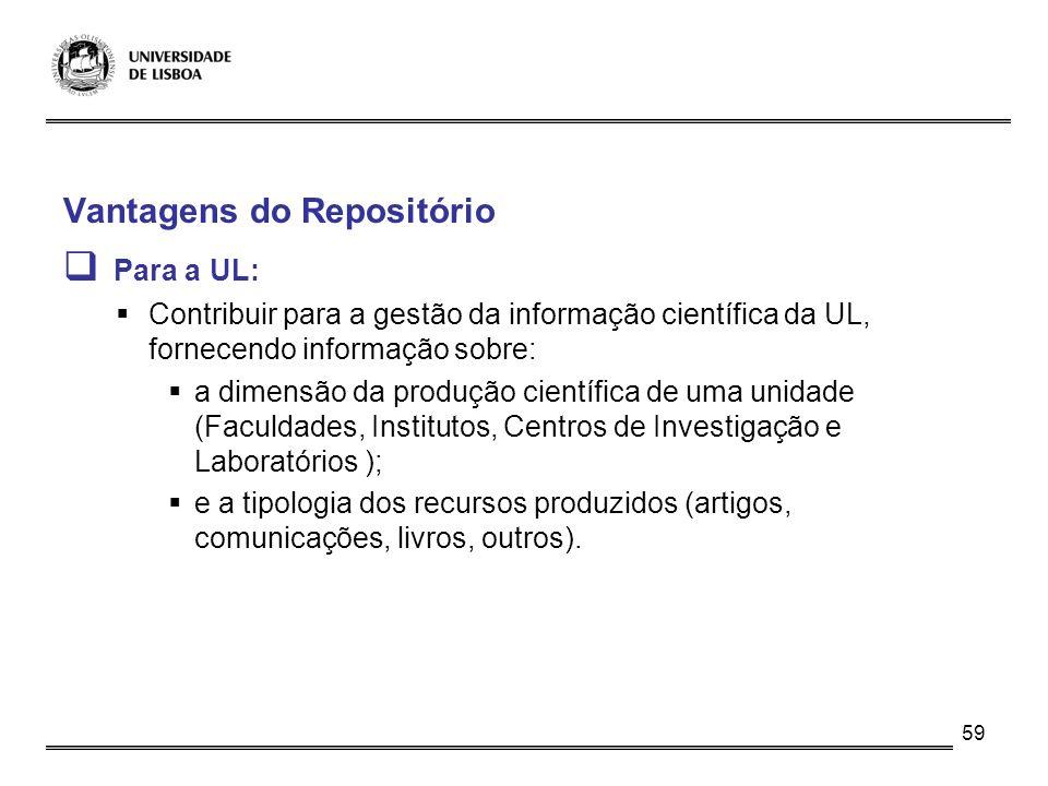 Para a UL: Vantagens do Repositório