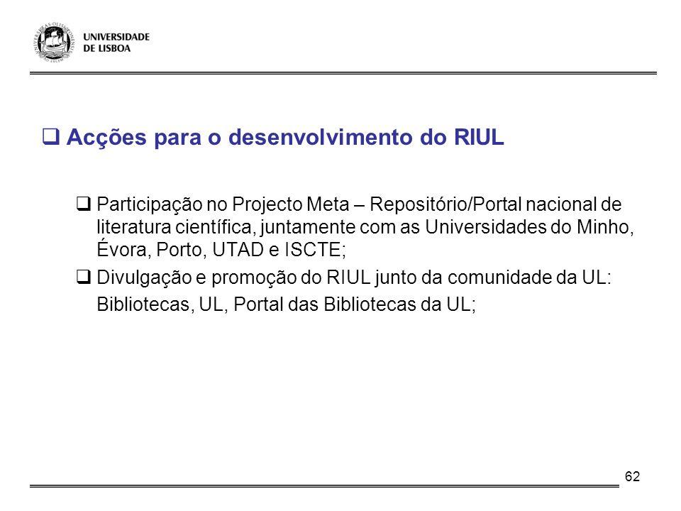 Acções para o desenvolvimento do RIUL