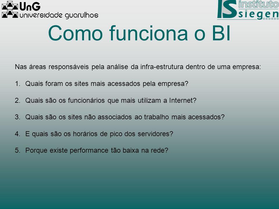 Como funciona o BI Nas áreas responsáveis pela análise da infra-estrutura dentro de uma empresa: Quais foram os sites mais acessados pela empresa