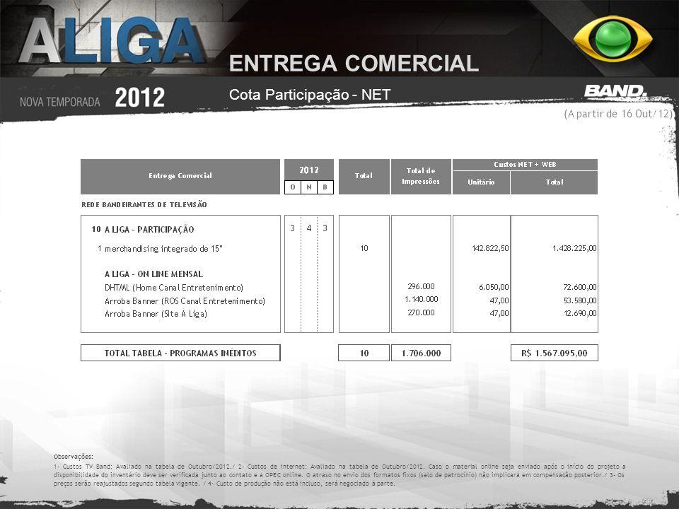 ENTREGA COMERCIAL Cota Participação - NET (A partir de 16 Out/12)