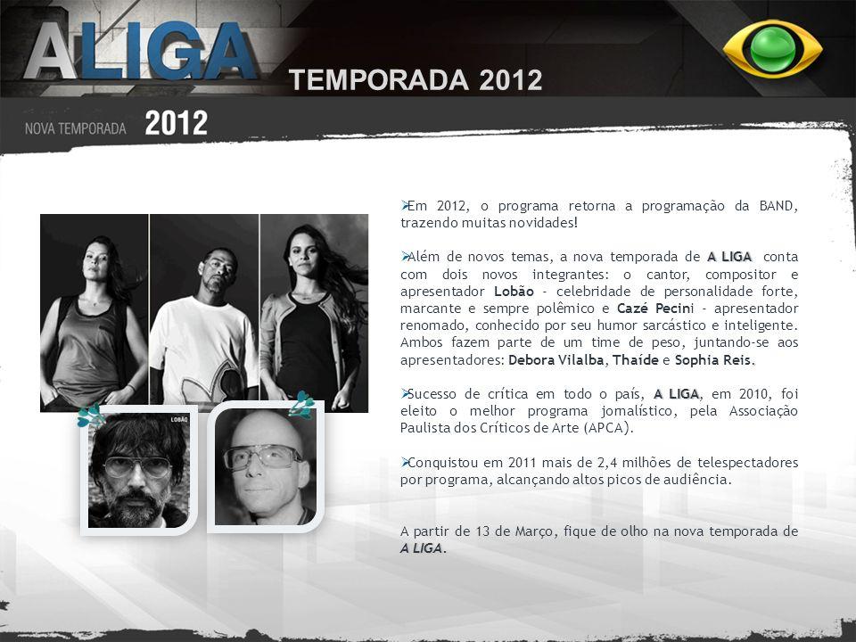TEMPORADA 2012 Em 2012, o programa retorna a programação da BAND, trazendo muitas novidades!