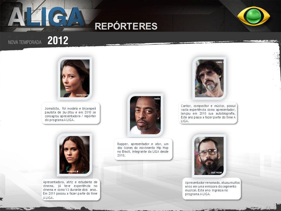 REPÓRTERES Jornalista, foi modelo e bicampeã paulista de jiu-jitsu e em 2010 se consagrou apresentadora / repórter do programa A LIGA.