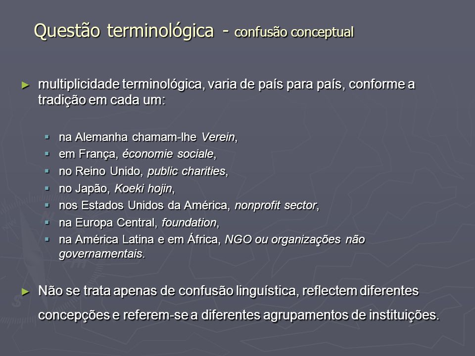 Questão terminológica - confusão conceptual