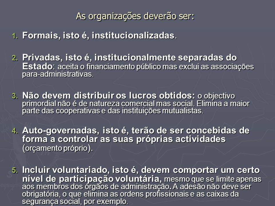 As organizações deverão ser: