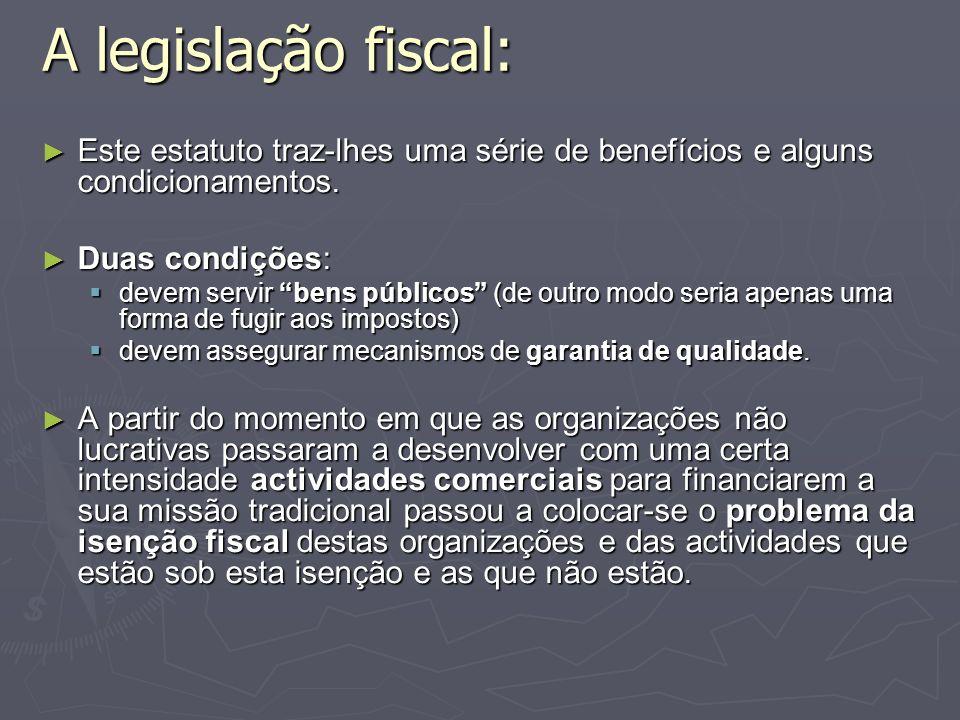A legislação fiscal: Este estatuto traz-lhes uma série de benefícios e alguns condicionamentos. Duas condições: