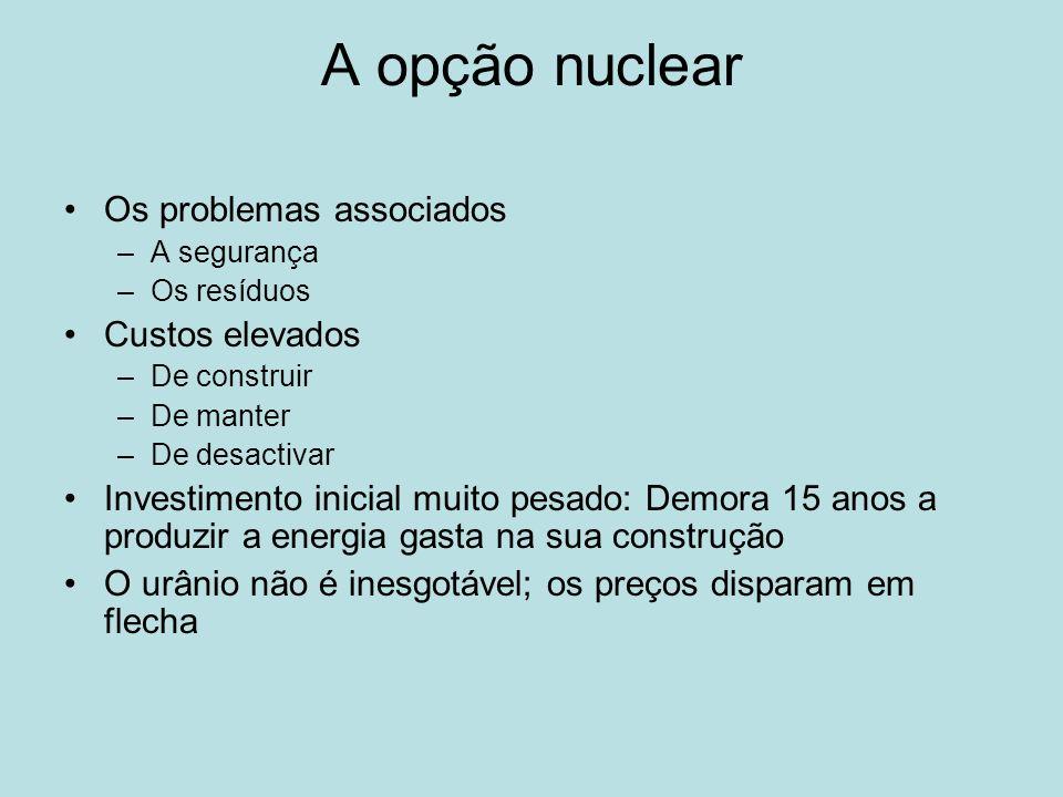 A opção nuclear Os problemas associados Custos elevados