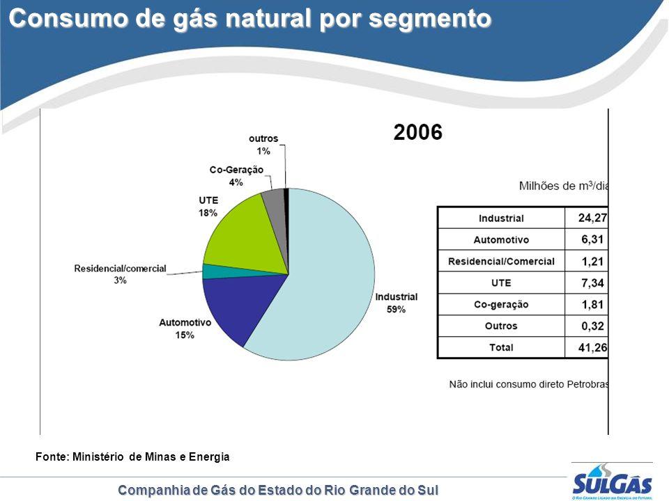Consumo de gás natural por segmento