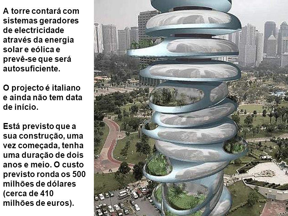 A torre contará com sistemas geradores de electricidade através da energia solar e eólica e prevê-se que será autosuficiente.