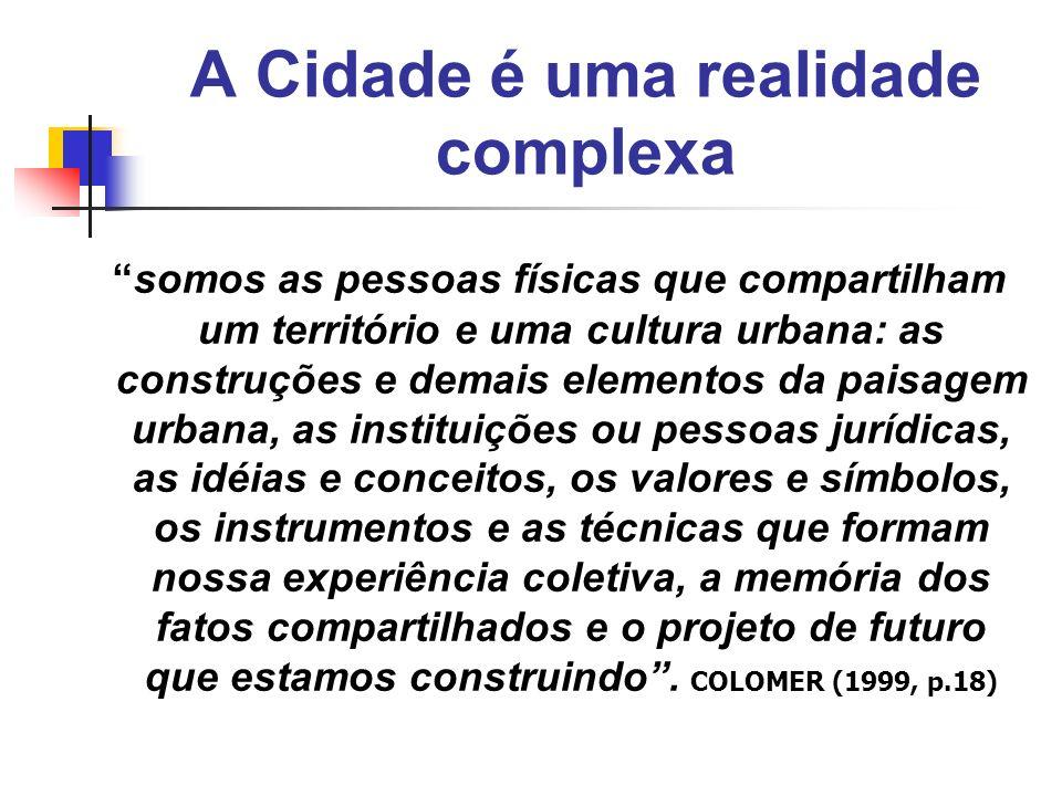 A Cidade é uma realidade complexa