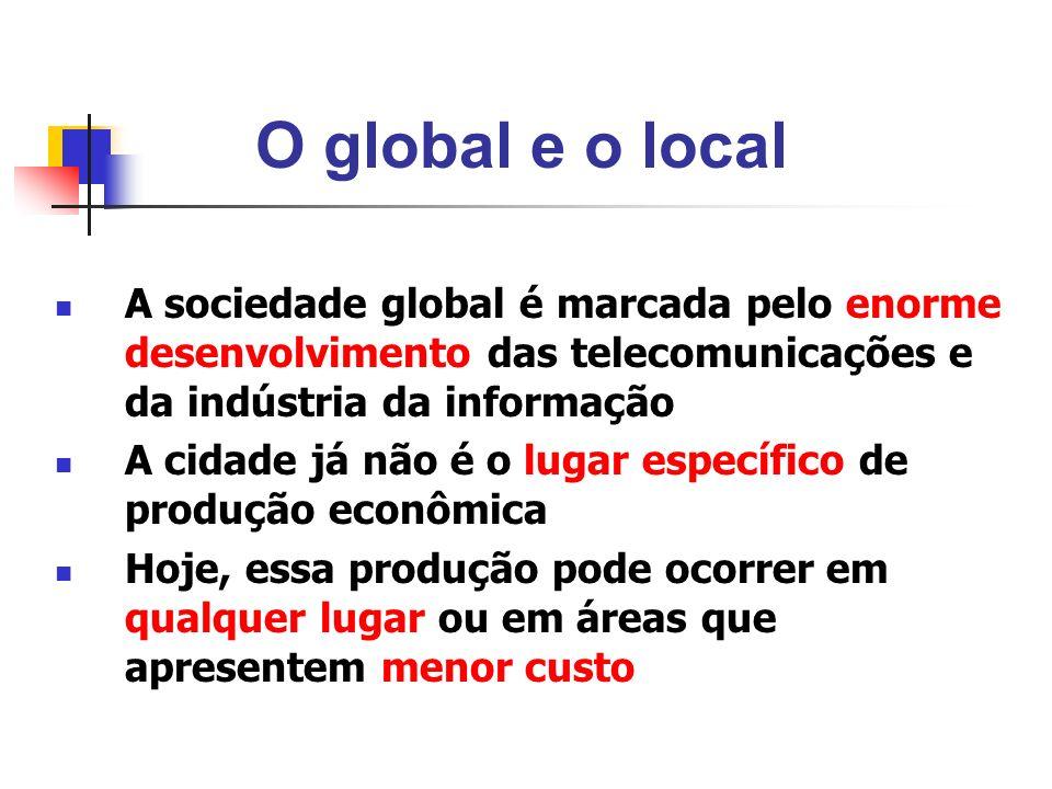 O global e o local A sociedade global é marcada pelo enorme desenvolvimento das telecomunicações e da indústria da informação.