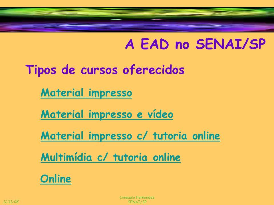 A EAD no SENAI/SP Tipos de cursos oferecidos Material impresso