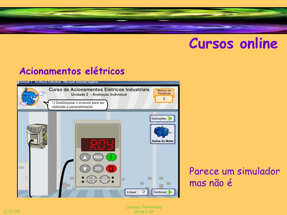 Cursos online Acionamentos elétricos Parece um simulador mas não é