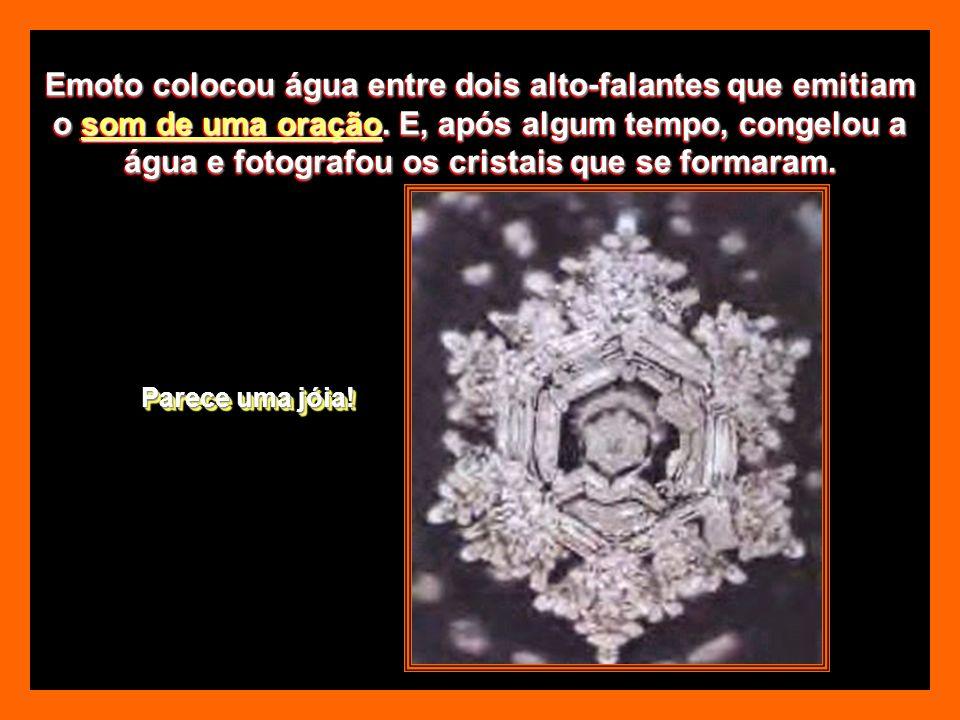 Emoto colocou água entre dois alto-falantes que emitiam o som de uma oração. E, após algum tempo, congelou a água e fotografou os cristais que se formaram.