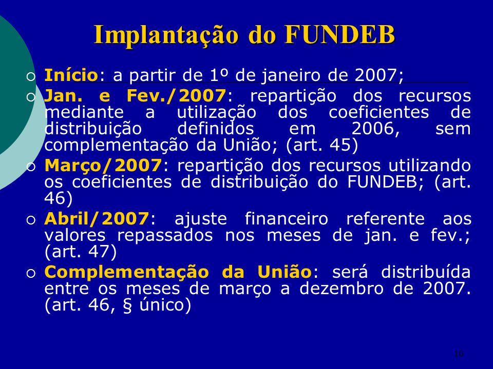 Implantação do FUNDEB Início: a partir de 1º de janeiro de 2007;