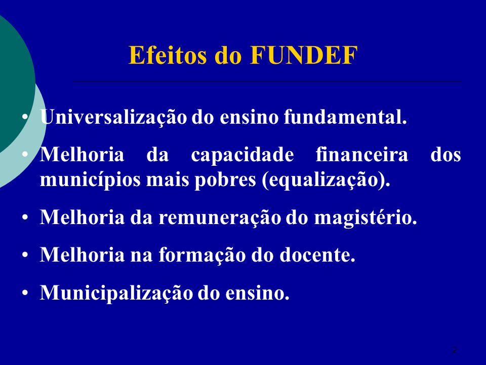 Efeitos do FUNDEF Universalização do ensino fundamental.