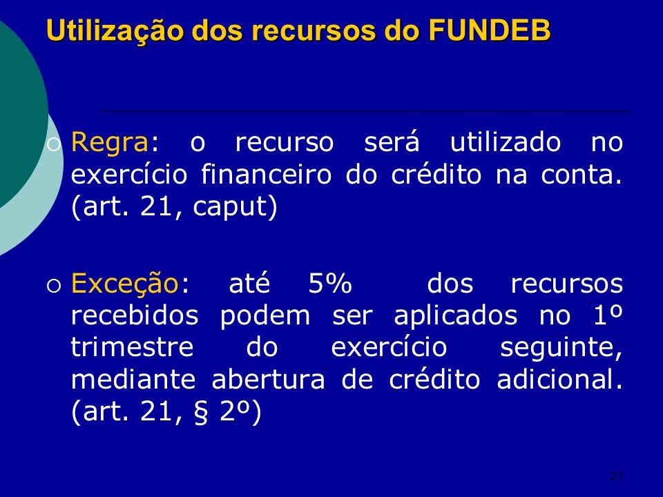 Utilização dos recursos do FUNDEB