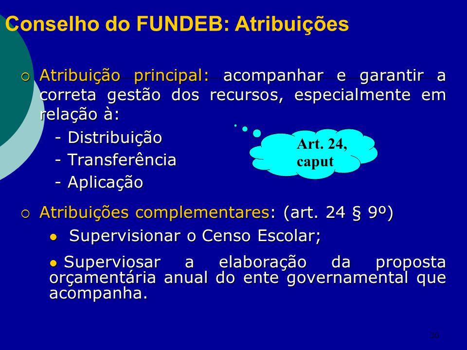 Conselho do FUNDEB: Atribuições