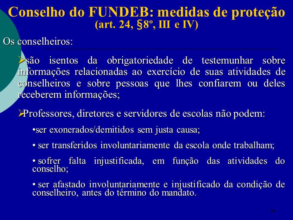 Conselho do FUNDEB: medidas de proteção