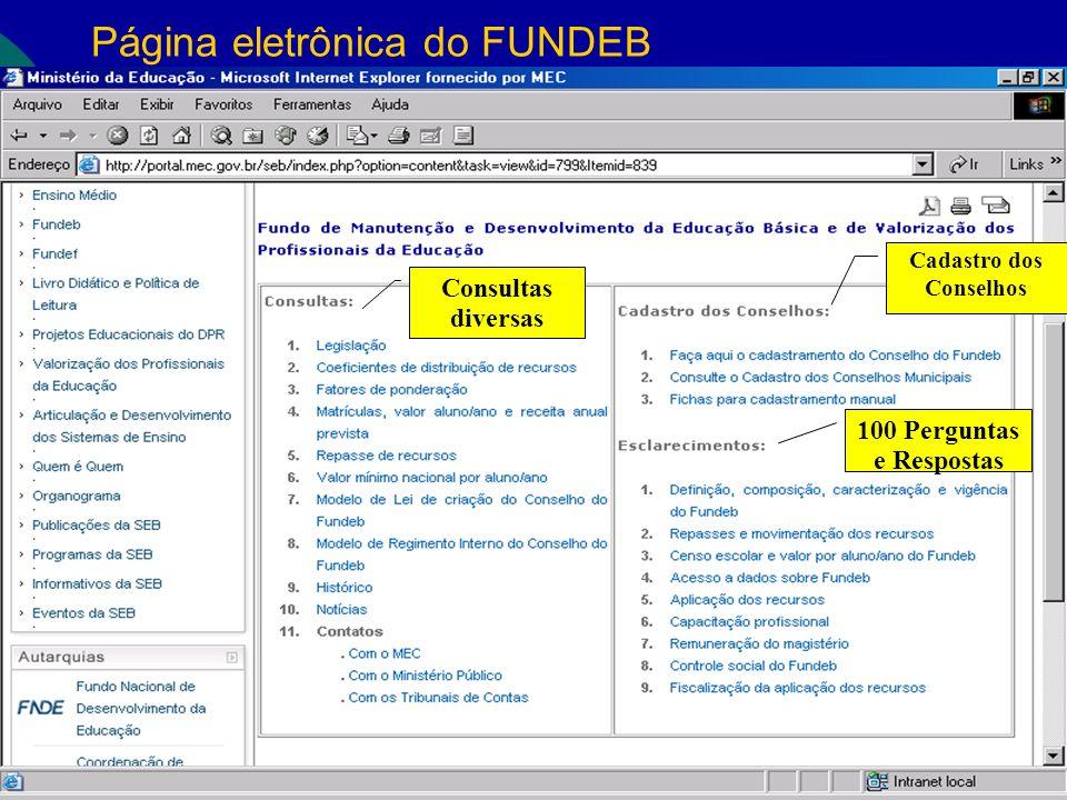 Página eletrônica do FUNDEB