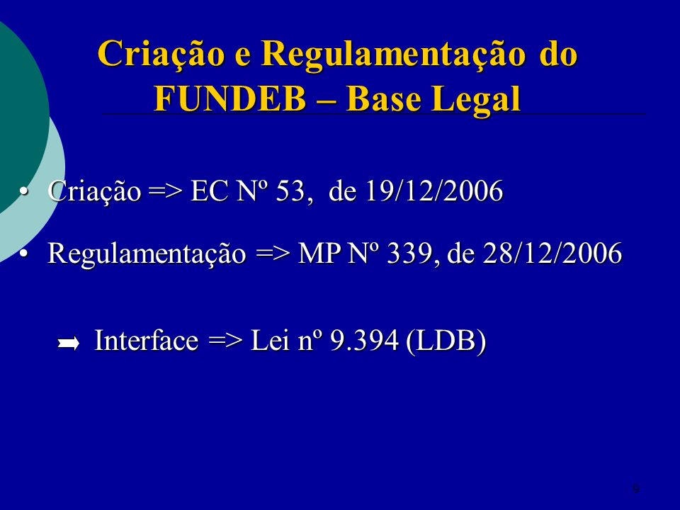 Criação e Regulamentação do FUNDEB – Base Legal