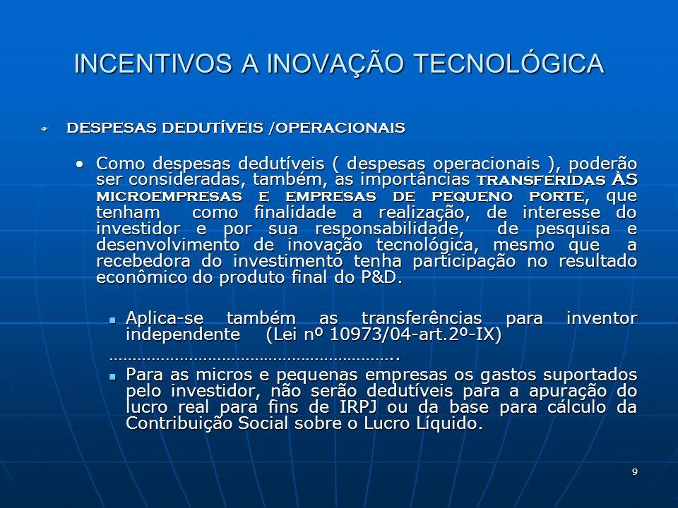 INCENTIVOS A INOVAÇÃO TECNOLÓGICA