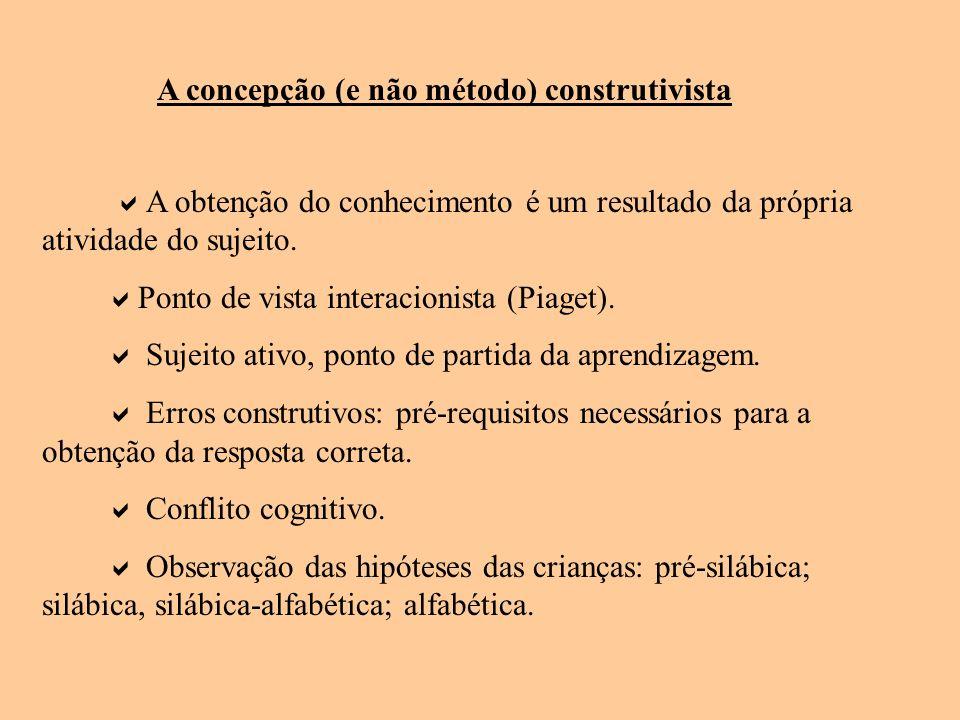 A concepção (e não método) construtivista