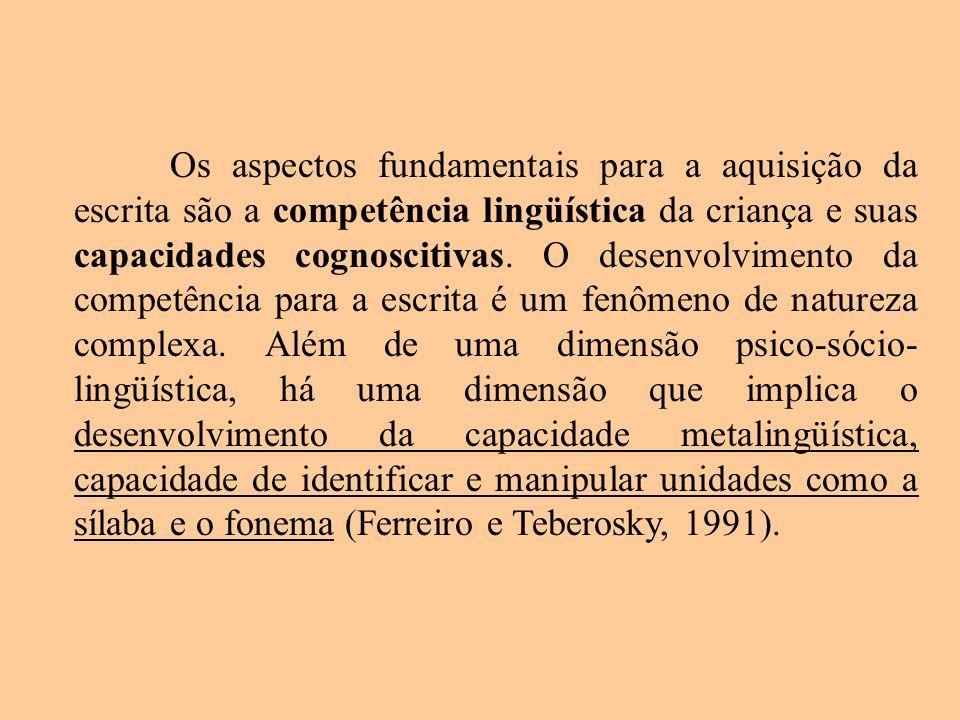 Os aspectos fundamentais para a aquisição da escrita são a competência lingüística da criança e suas capacidades cognoscitivas.