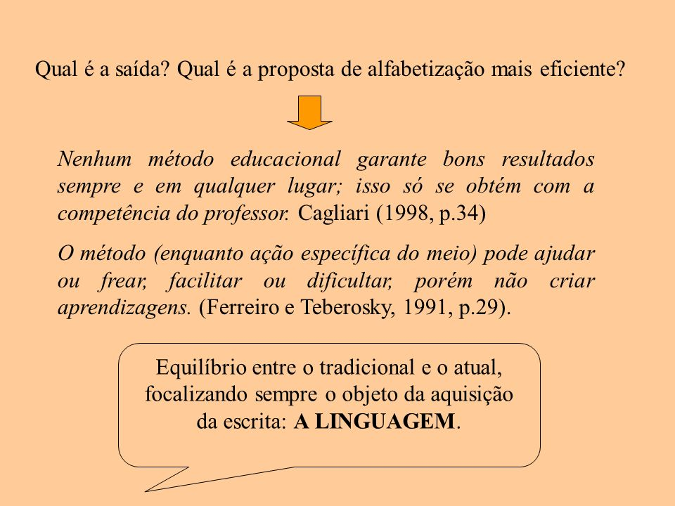 Qual é a saída Qual é a proposta de alfabetização mais eficiente