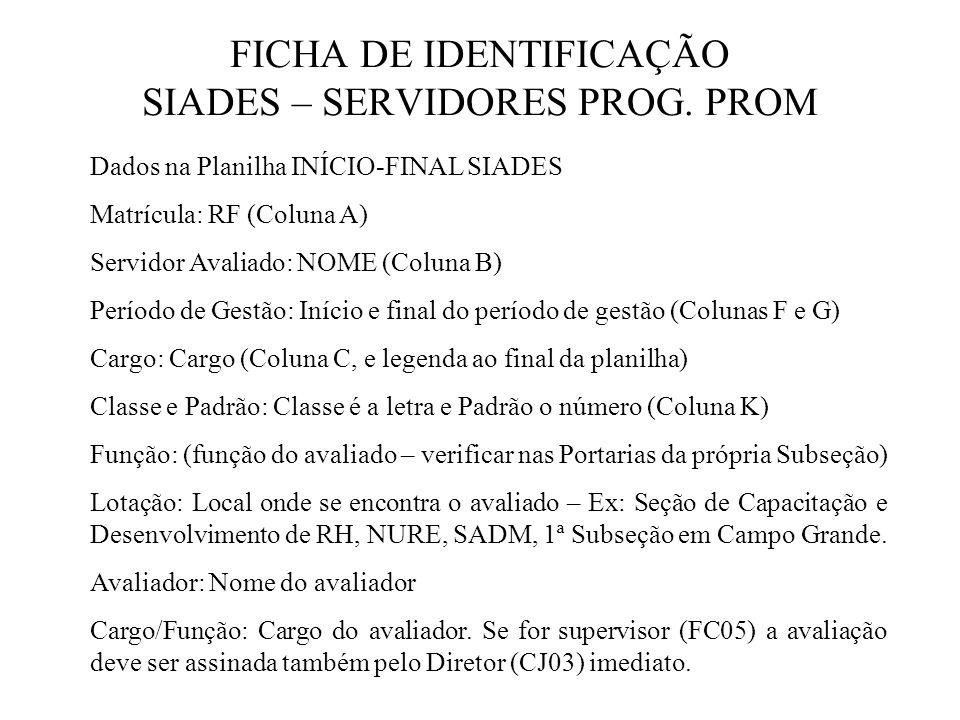 FICHA DE IDENTIFICAÇÃO SIADES – SERVIDORES PROG. PROM
