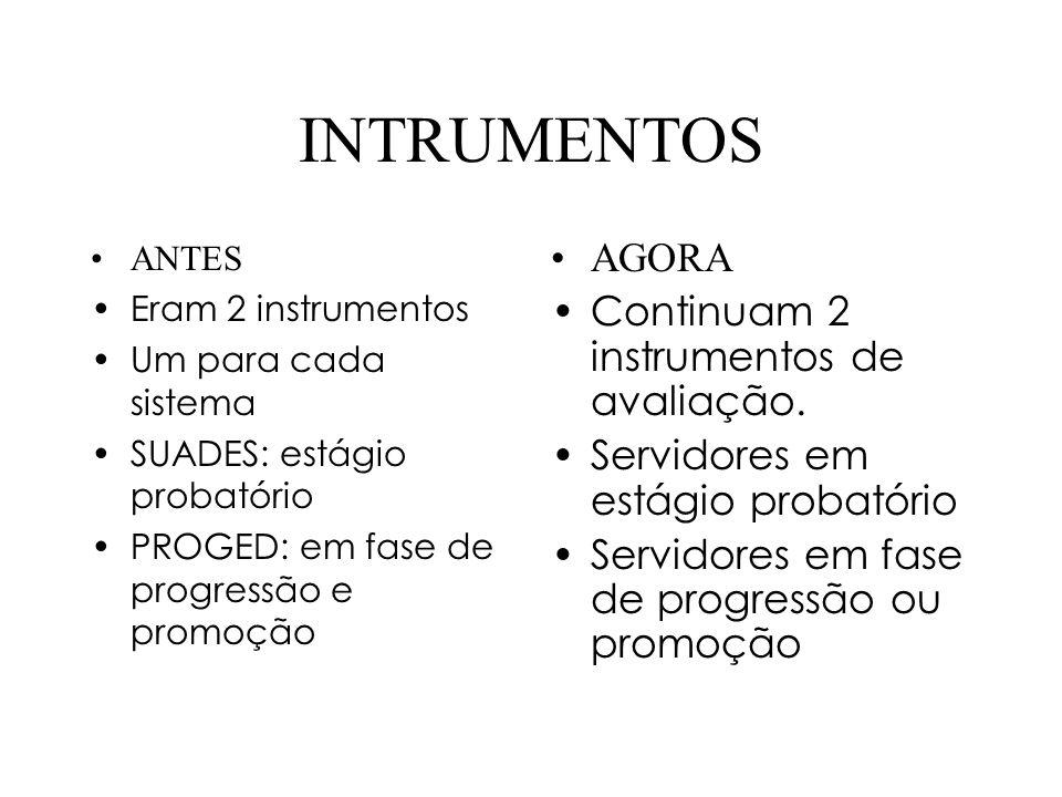 INTRUMENTOS AGORA Continuam 2 instrumentos de avaliação.
