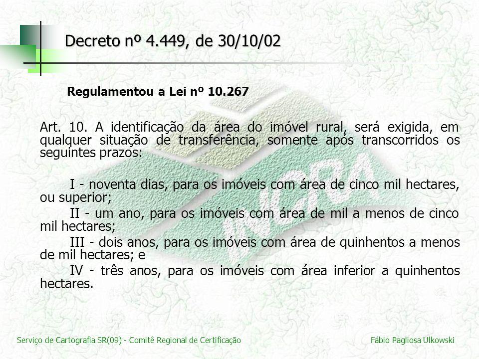 Decreto nº 4.449, de 30/10/02 Regulamentou a Lei nº 10.267.