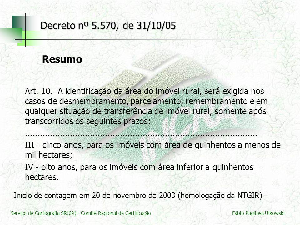 Decreto nº 5.570, de 31/10/05 Resumo.