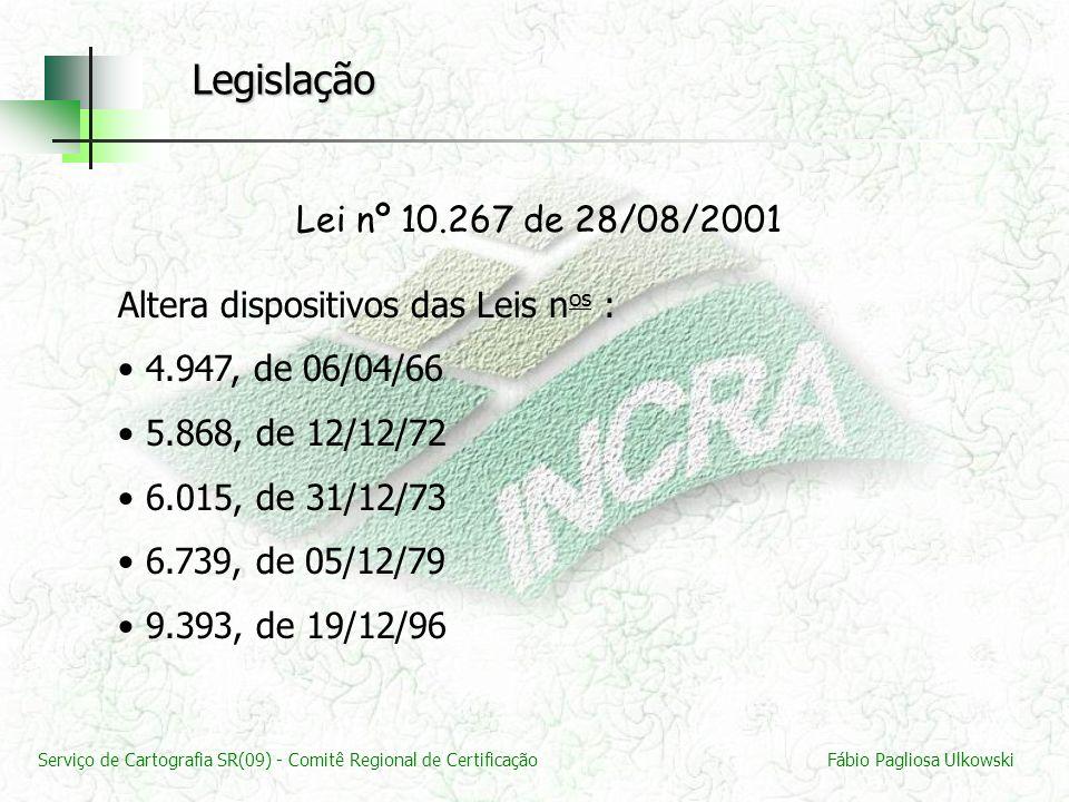 Legislação Lei nº 10.267 de 28/08/2001. Altera dispositivos das Leis nos : 4.947, de 06/04/66. 5.868, de 12/12/72.
