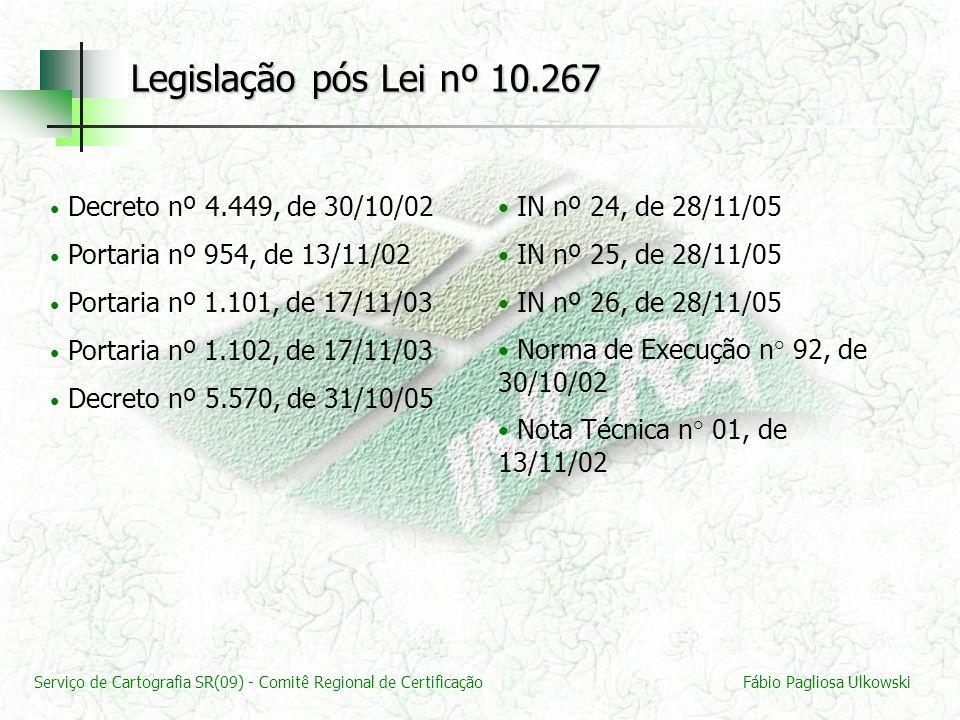 Legislação pós Lei nº 10.267 Decreto nº 4.449, de 30/10/02