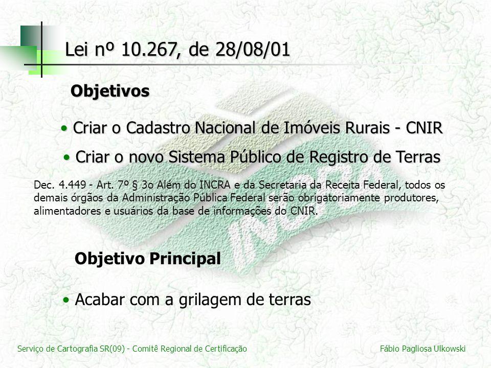 Lei nº 10.267, de 28/08/01 Objetivos. Criar o Cadastro Nacional de Imóveis Rurais - CNIR. Criar o novo Sistema Público de Registro de Terras.