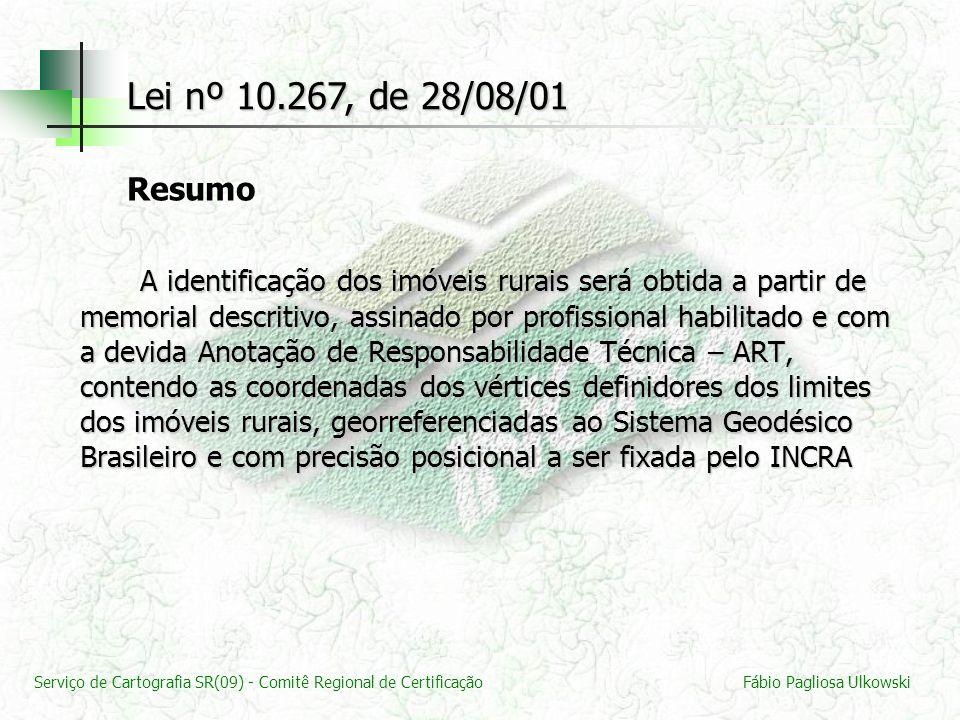 Lei nº 10.267, de 28/08/01 Resumo.