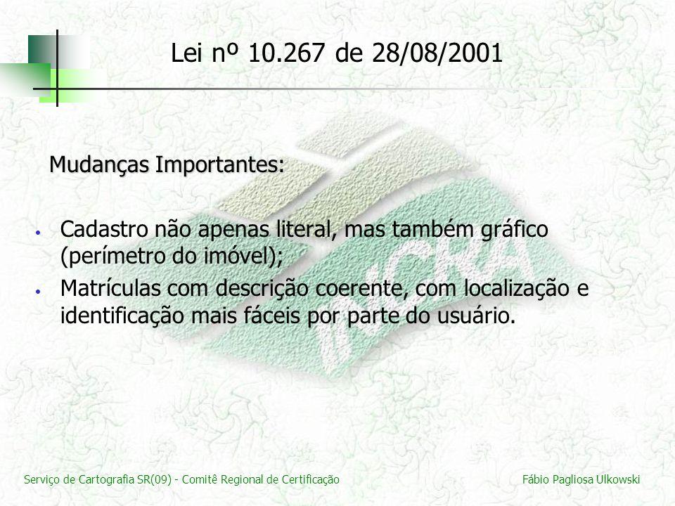 Lei nº 10.267 de 28/08/2001 Mudanças Importantes: